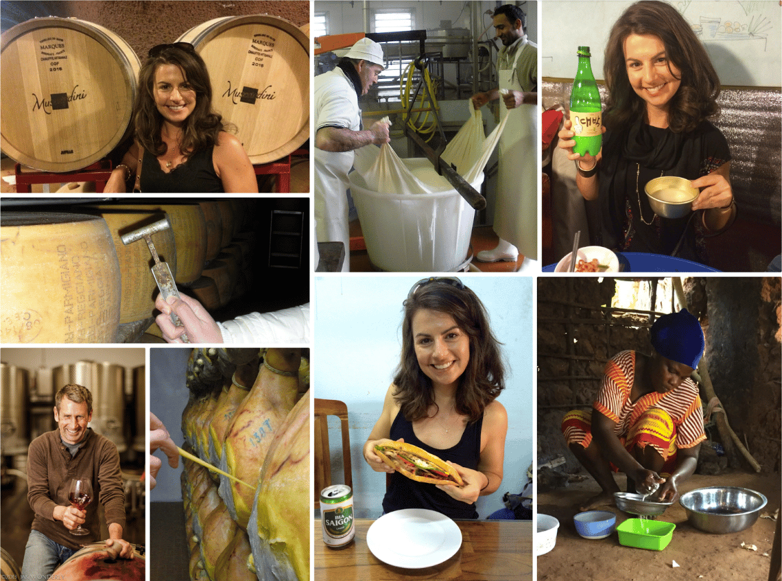 A collage of different photos of Suzanne in different foodie and tippling moments throughout her past