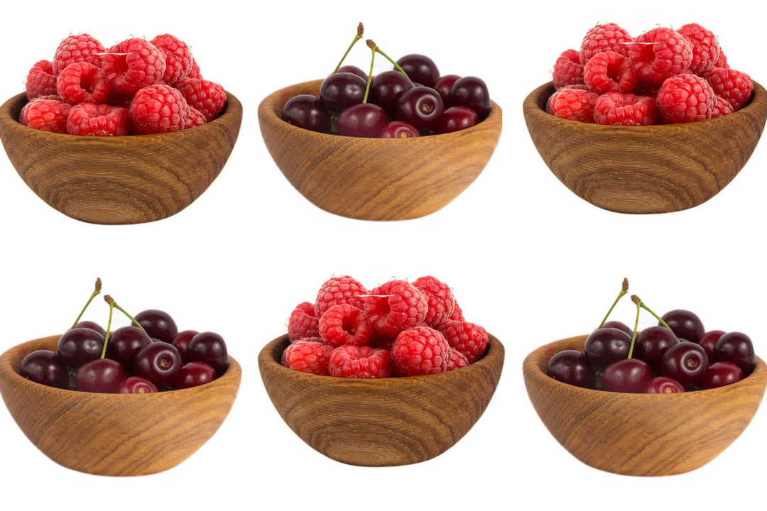 Wooden Bowls full of Cherries and Raspberries - the two most common fruits in Lambics