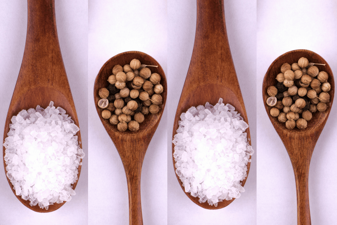 Wooden spoons filled with salt and coriander - the to unique ingredients in Gose