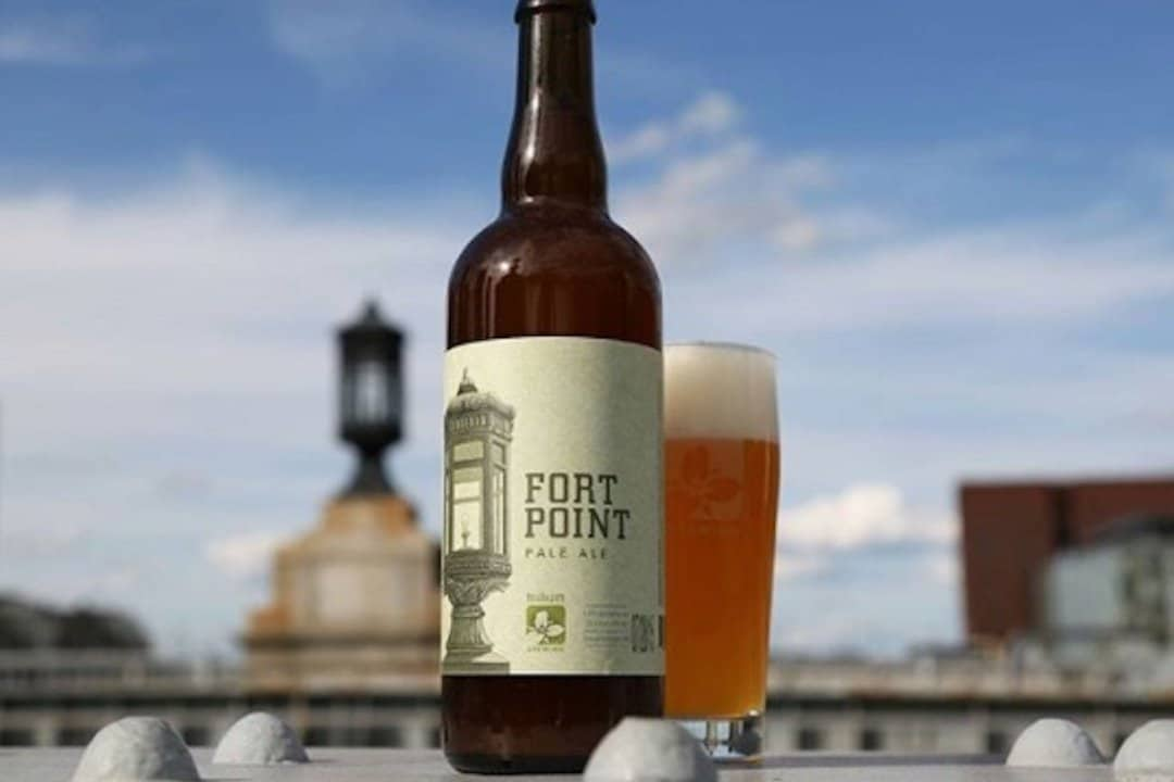Fort Point Beer Bottle & Glass with it's namesake in the background