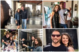 Collage of pictures of our founder, Suzanne, with various winemakers and people of Mendoza