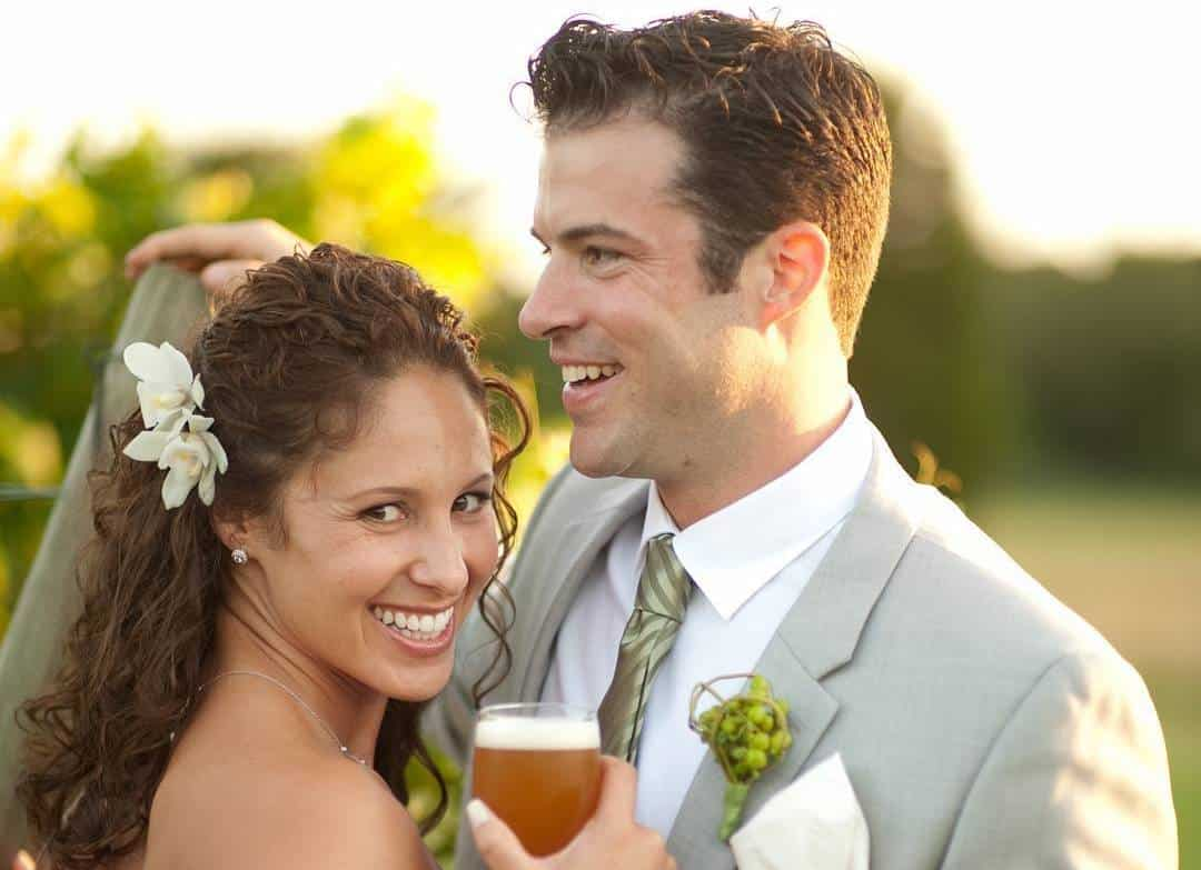 Trillium Owners on their wedding day with beer in hand