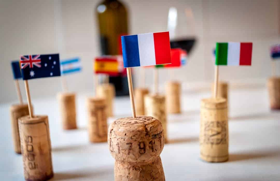 Corks with Top Wine Producing Region Flags, Including Argentina