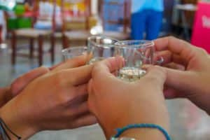 Young adults toast with pisco in a visit of a pisco factory, in Peru. It's an obligated stop for tourists. There are many types of pisco.