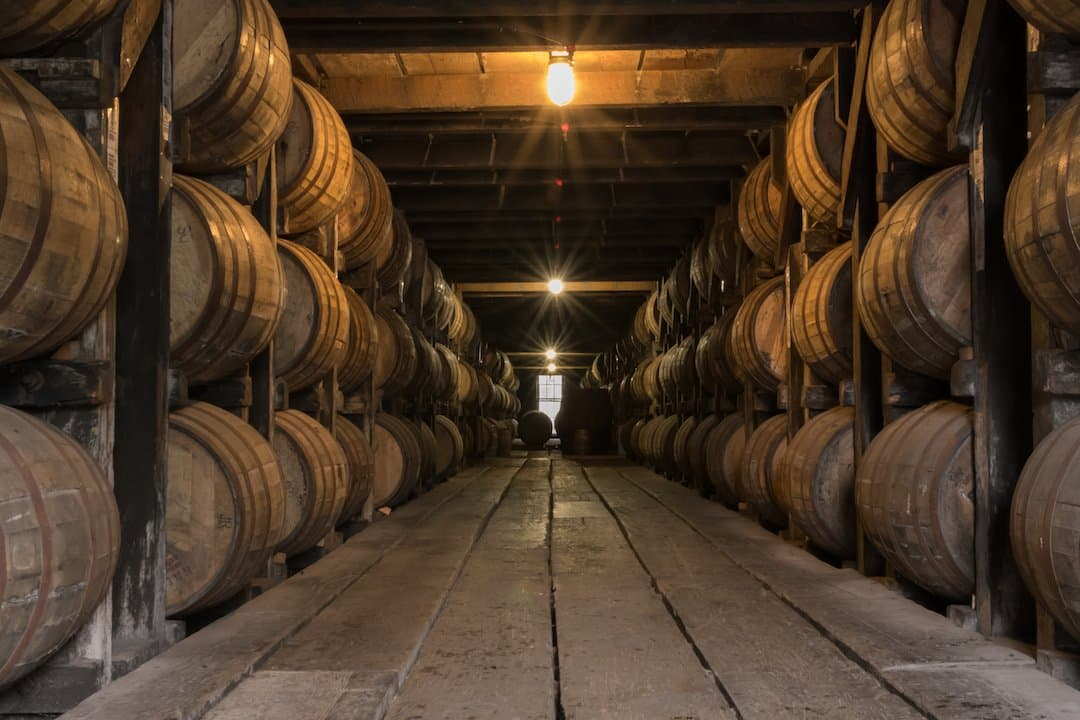 Whiskey Aging in a Barrel Room