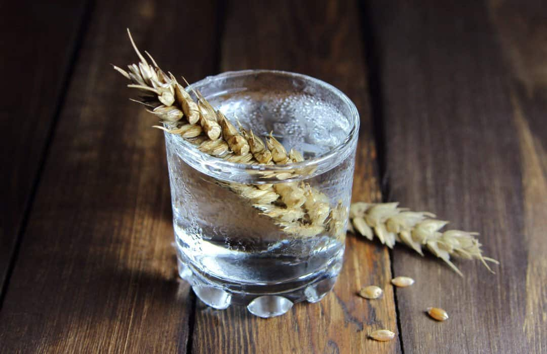 vodka in a glass with ears of wheat on wooden background