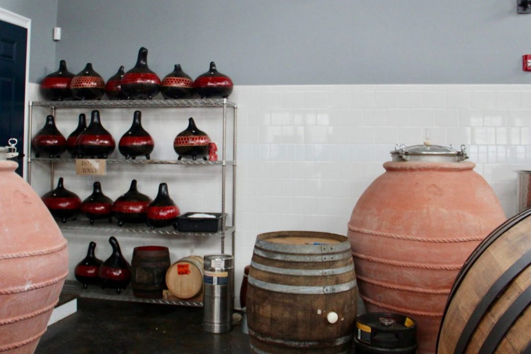 View of casks, amphora and gourds