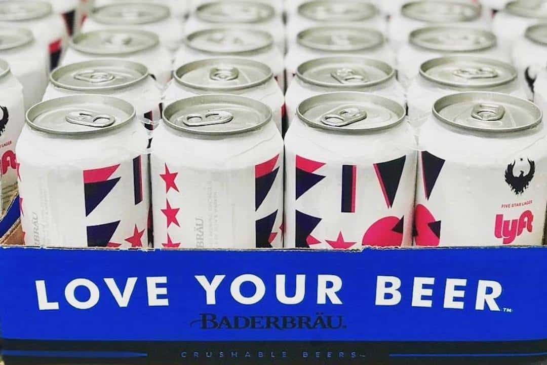 Cans of Baderbrau's Lyft Five Star Lager