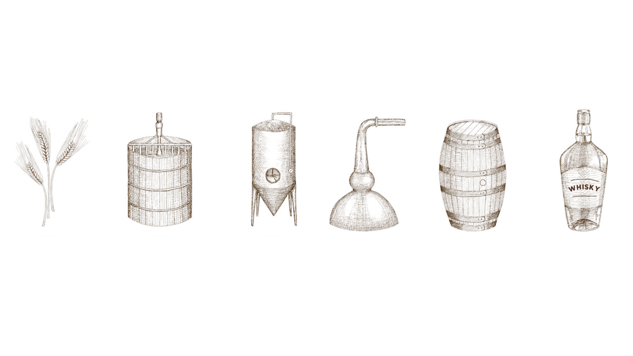 Hand Drawn Steps of the Distilling Process