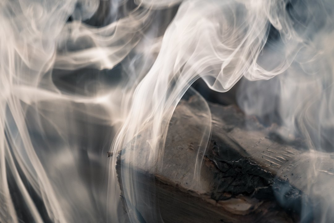 Close up from smoking fire.
