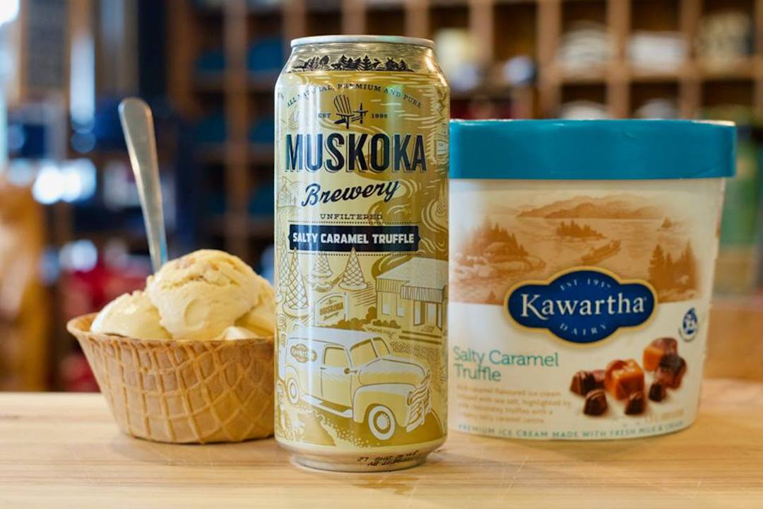 Can of Muskoka Salty Caramel Truffle Beer with cup and pint of Kawartha's ice cream