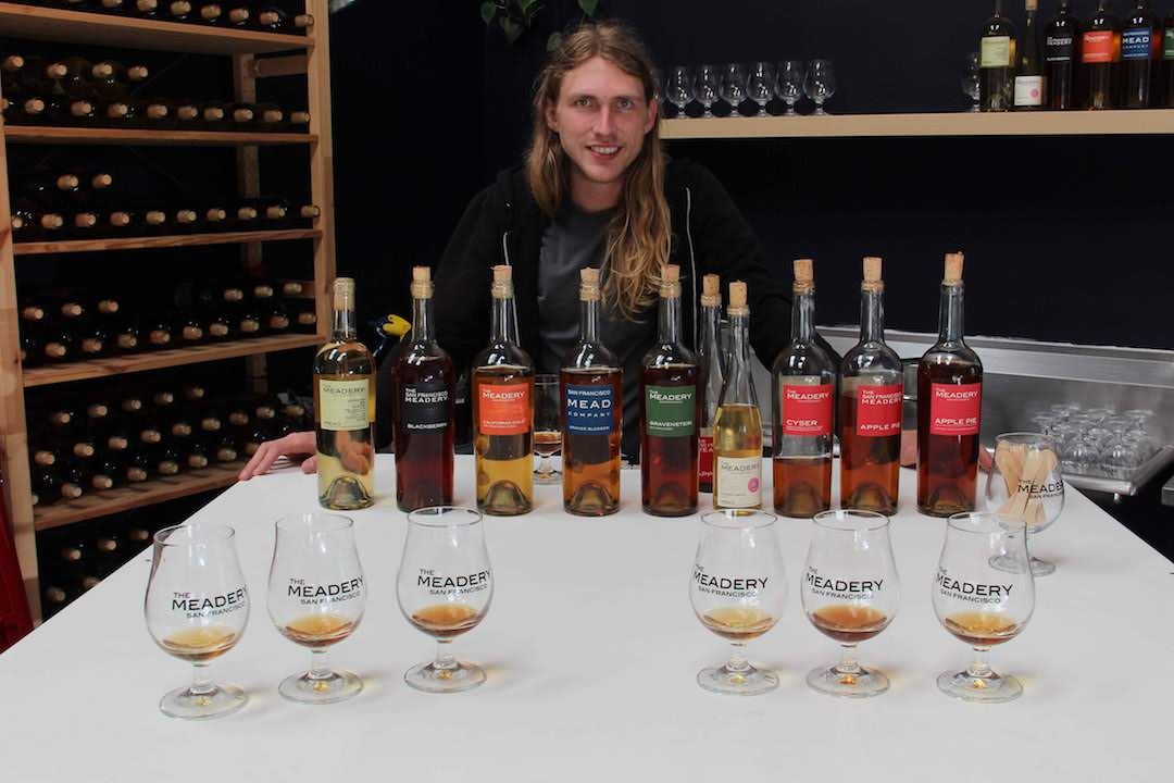 John with the full lineup of The Meadery's meads with tastings poured