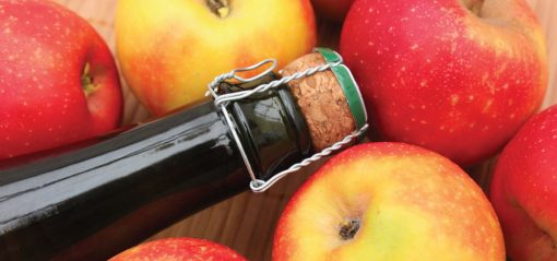 Craft Cider bottle surrounded by apples