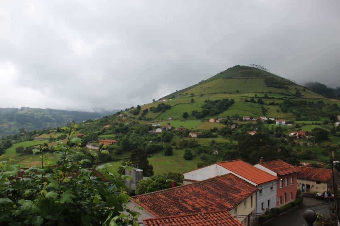The rolling hills & houses of Asturias