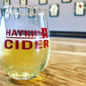 Glass of Haykin Cider in Their Tasting Room