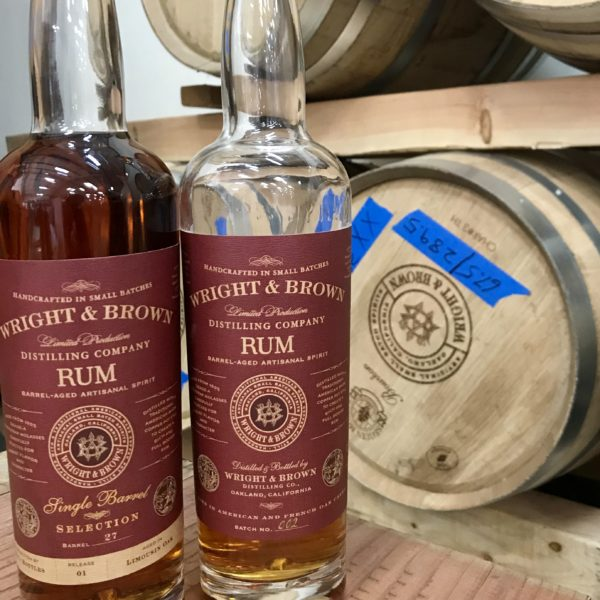 Wright & Brown Rum bottles at their distillery in Oakland, CA