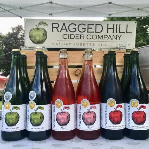 Line Up of Ragged Hill Cider at a Farmer's Market