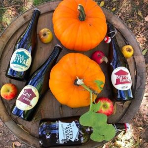 Tilted Shed Cider Bottles Lying on the Top of a Barrel with Pumpkins and Apples