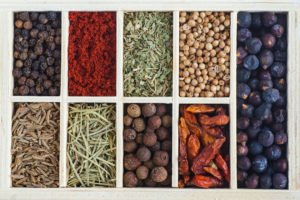 Set of various spices and seasonings that could be used in Gin.