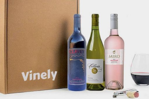 Vinely Box with bottles and a glass in front of it