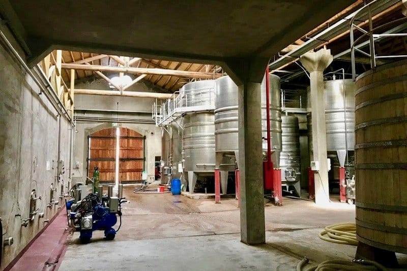 winemaking concrete tanks - stainless steel tanks - oak barrels