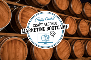 Craft Alcohol Marketing Bootcamp Logo on a background of oak barrels