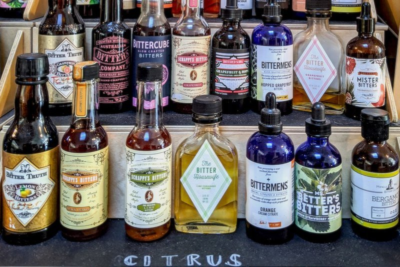 line up of citrus cocktail bitters at bitters and bottles in san francisco