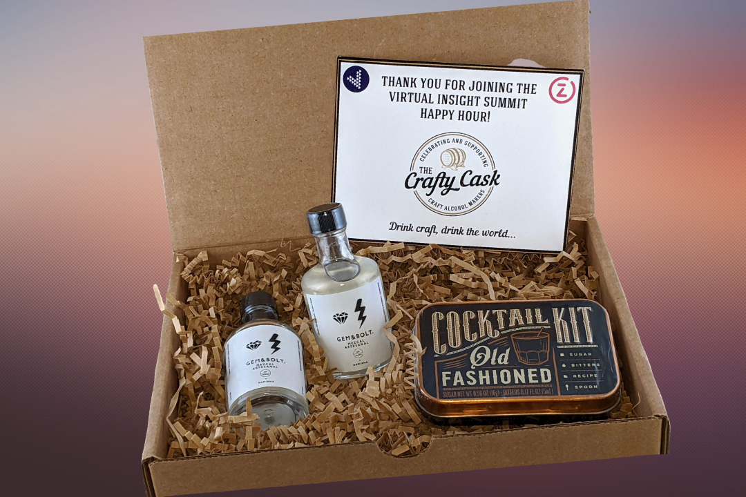 One of our cocktail kits for a mixology classes, cocktail making classes, and virtual cocktail classes