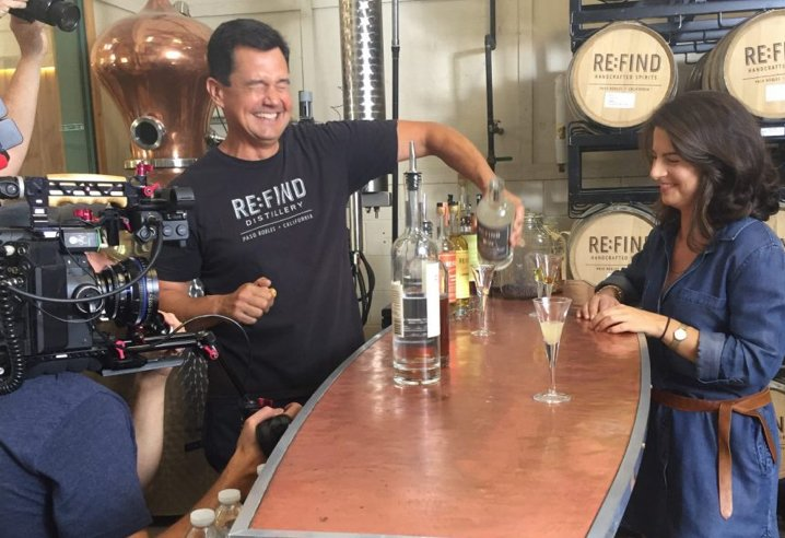 Founder Suzanne on video set with craft maker at Re:Find distillery