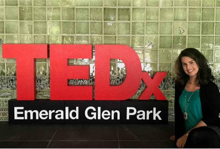 Suzanne at TEDx at Emerald Glen Park