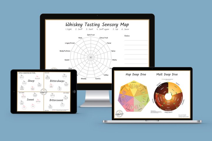 Device screens showing tasting profiles and guides