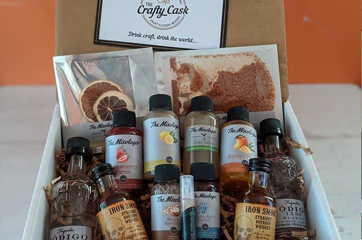 Box of craft spirit tasting samples