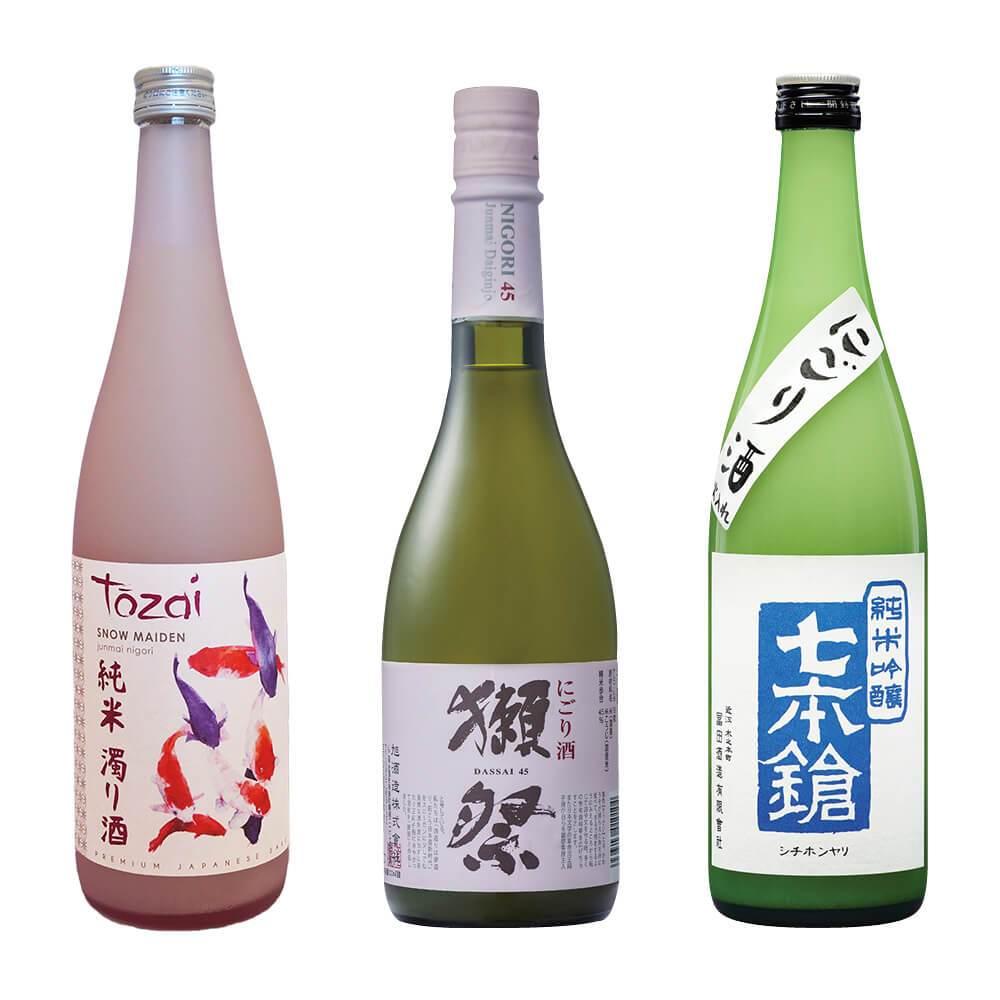 3 bottles of sake