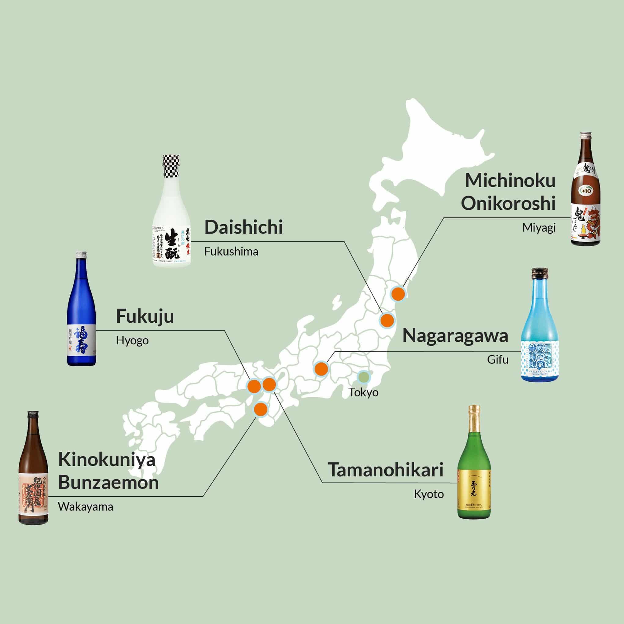 Japan map showing regional sake