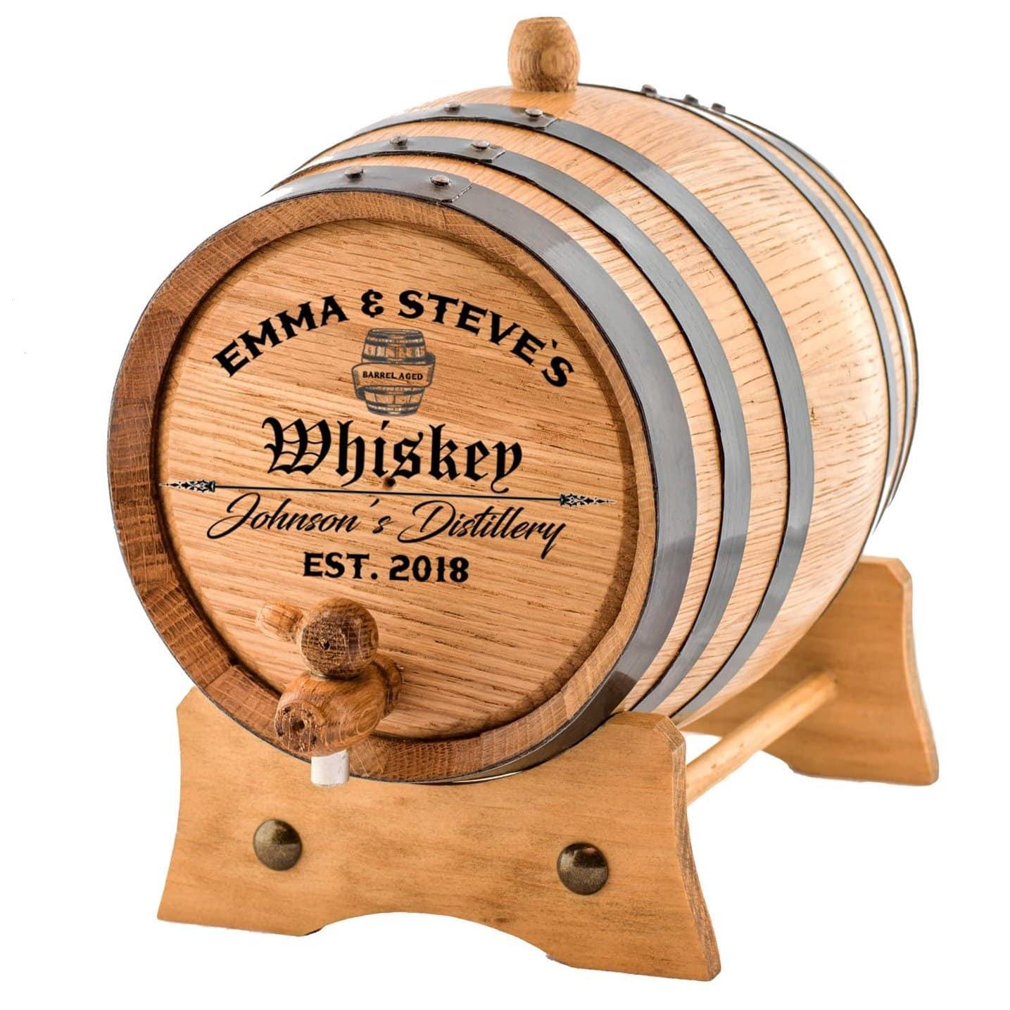 Custom cask barrel showing personalized labeling