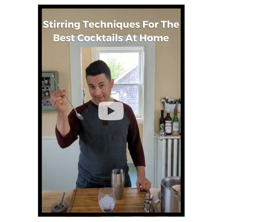 Video showing stirring techniques for the best manhattan recipe
